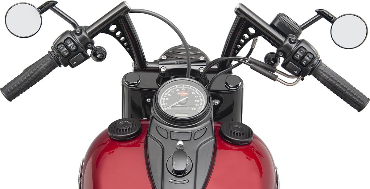 "RSD Black 7.5"" Vintage Short Stack Motorcycle Hand Handlebars Harley Davidson"
