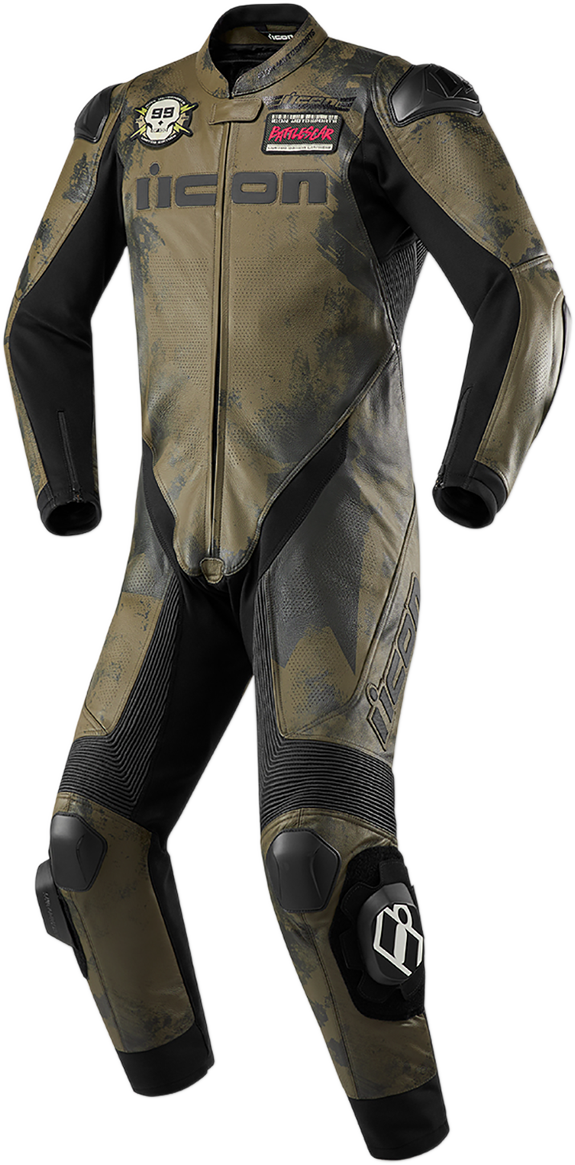 Icon Hypersport Battlescar Mens Camo Motorcycle Riding Street Racing Suit