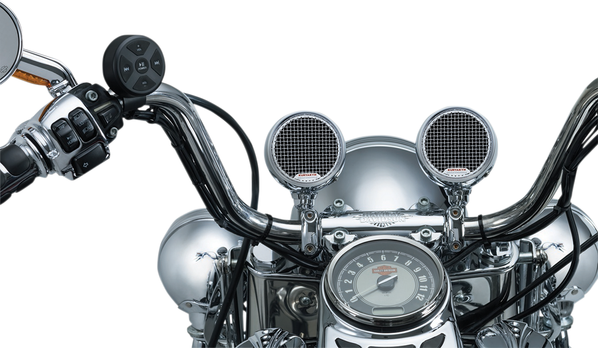 "Kuryakyn 2712 Chrome Road Thunder MXT 7/8"" & 1"" Handlebar Speaker Kit for Harley"