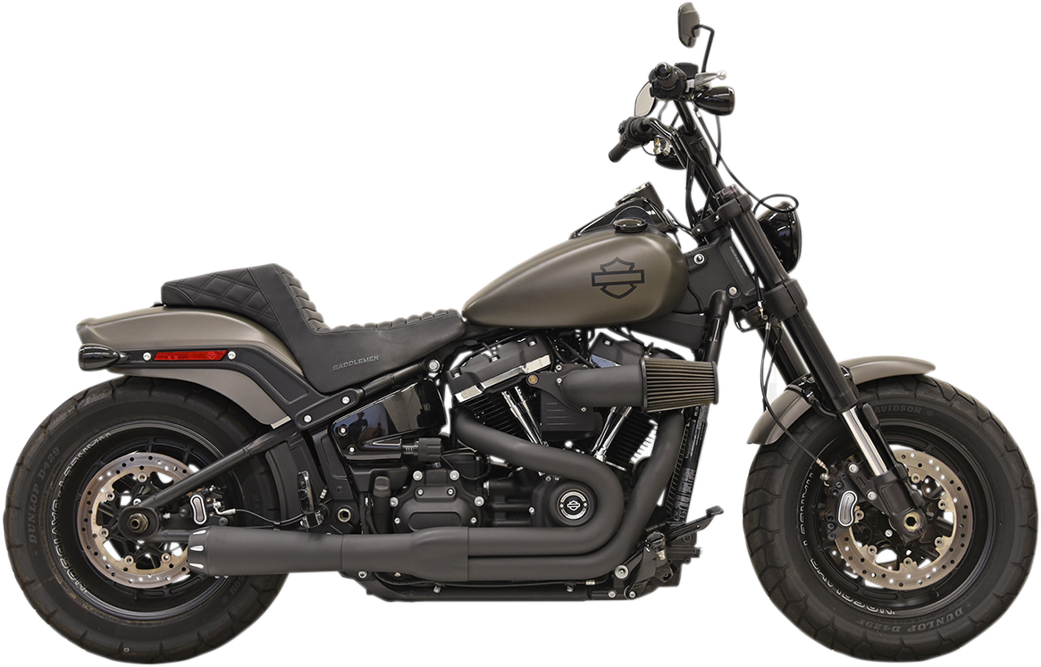Bassani 2-1 Black Road Rage Megaphone Exhaust for 18-19 Harley Dyna FXFB FXLR