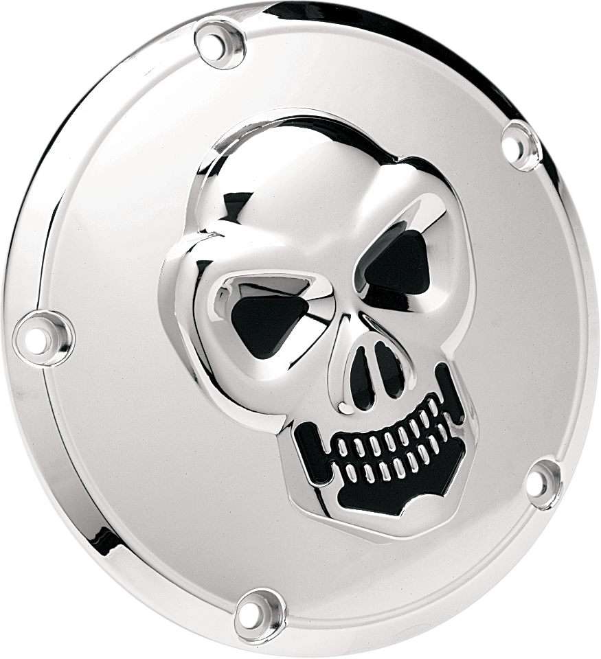 Drag Specialties Chrome 3D Skull 5 Hole Derby Cover 99-18 Harley Softail Touring