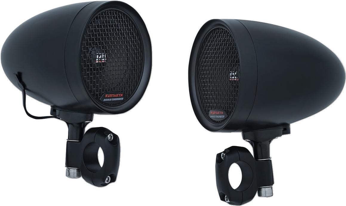 "Kuryakyn 2711 Black Road Thunder 1"" & 7/8 Handlebar Universal Bluetooth Speakers"