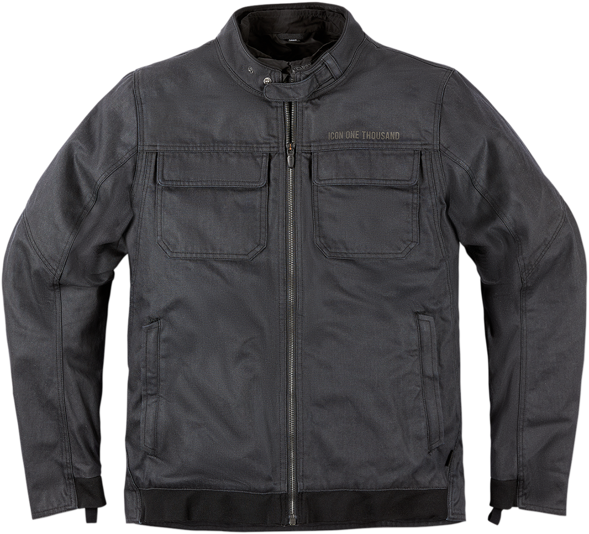 Icon 1000 Mens Textile Gray Brigand Zip Motorcycle Riding Street Racing Jacket
