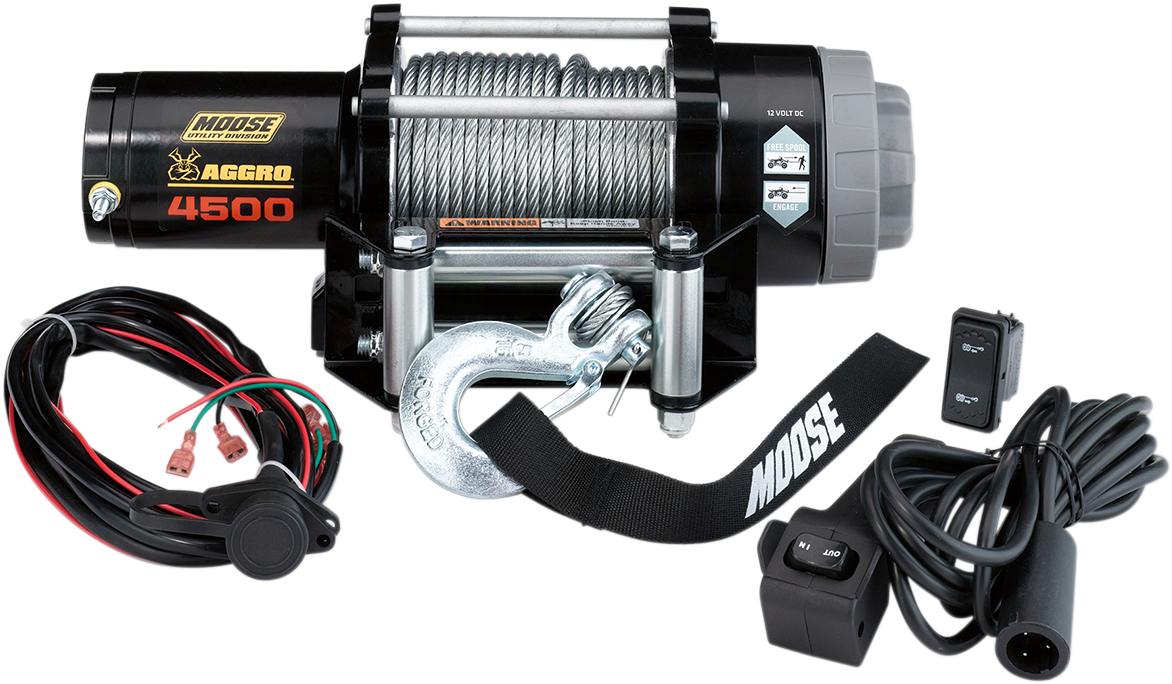 Moose Utility Black 4500 lb 50' Wire Rope Aggro UTV Winch