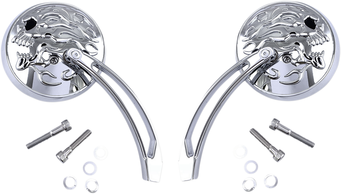 Drag Specialties Chrome Skull Flame Motorcycle Handlebar Perch Mirror Pair