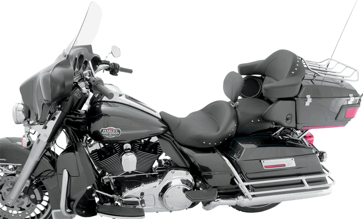 Mustang Studded Vinyl Seat & Back Rest 08-19 Harley Touring FLHR FLHX FLTRU