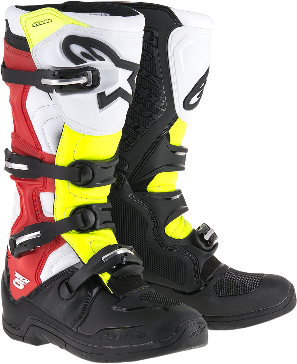 Alpinestars Mens Tech 5 Black Yellow Red Off road Riding Dirt Bike Racing Boots
