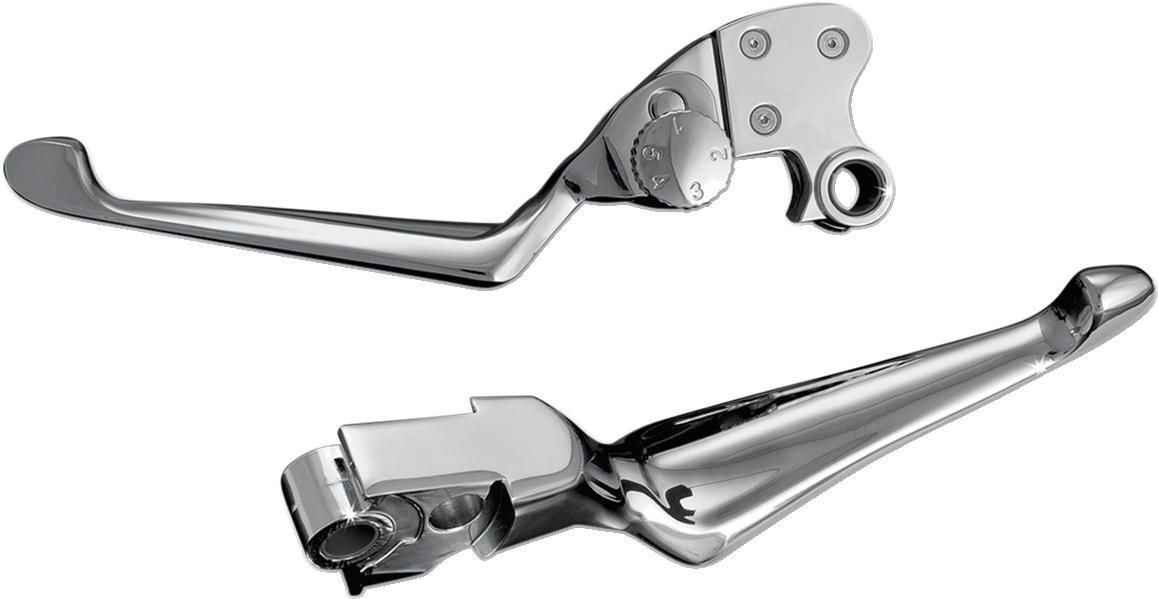 Kuryakyn Chrome Adjustable Handlebar Lever Set for 96-17 Harley Dyna Touring XL