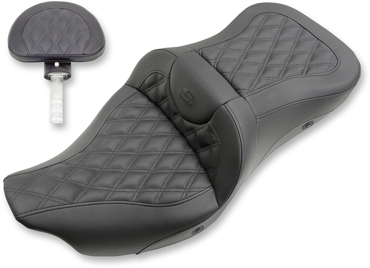 Saddlemen Black Heated Road Sofa Seat & Backrest for 08-18 Harley Touring FLHX
