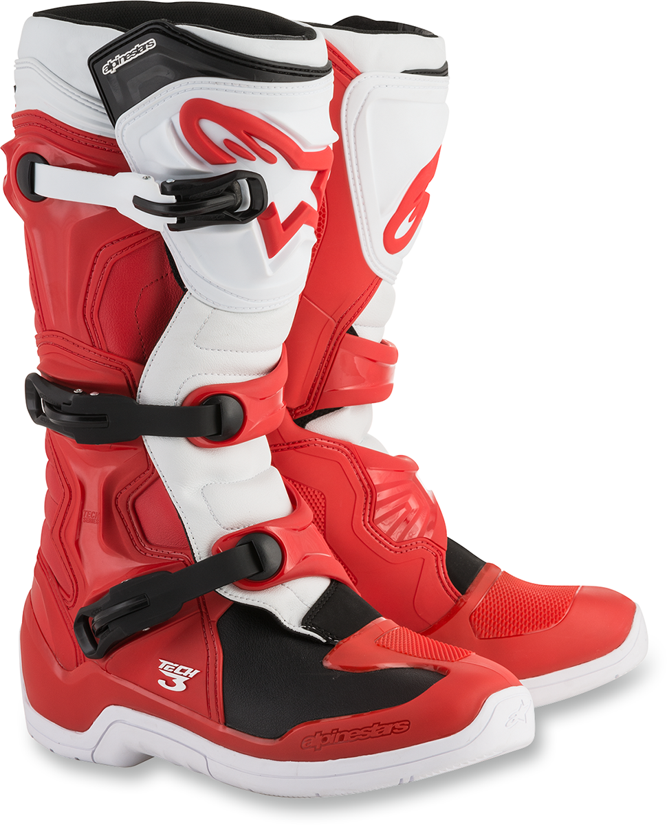 Alpinestars Mens Pair Red White Tech 3 Off road riding Dirt Bike Racing Boots