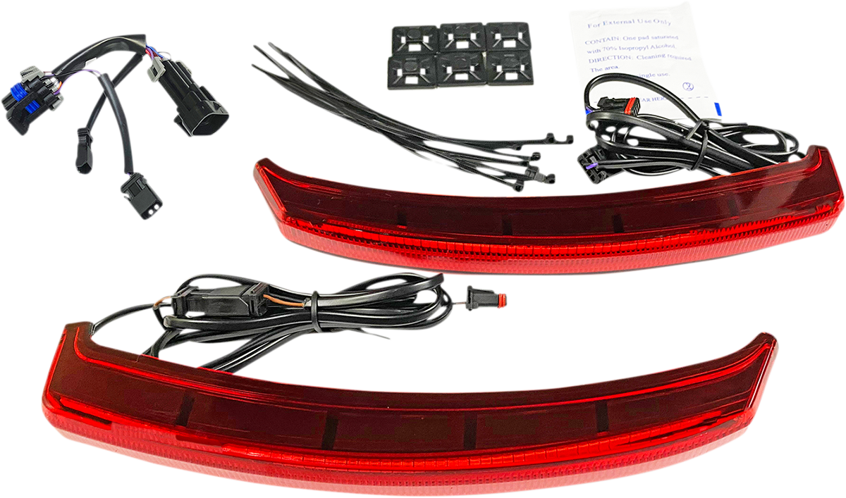 Custom Dynamics Red Lens LED Rear Saddlebag Lid Lights 19-20 Indian Chieftain