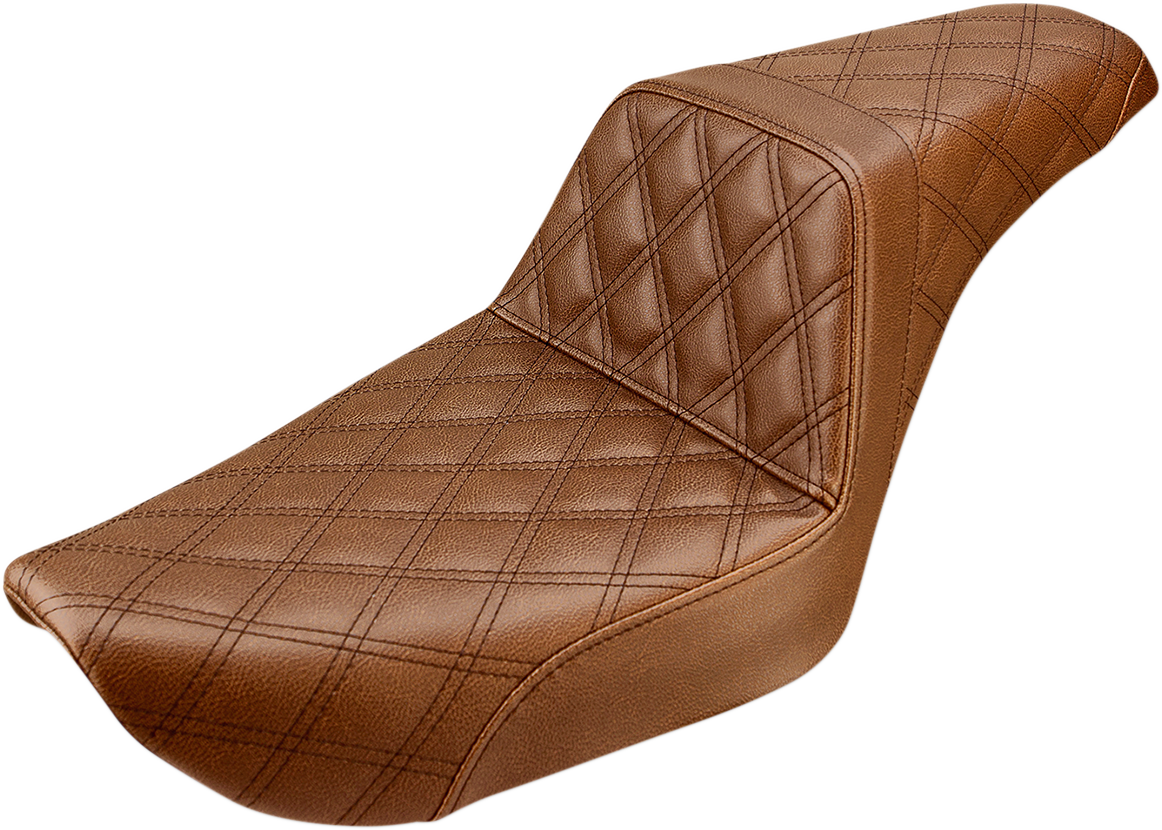 Saddlemen Brown Step Up Leather Lattice Seat for 96-03 Harley FXD Super Glide