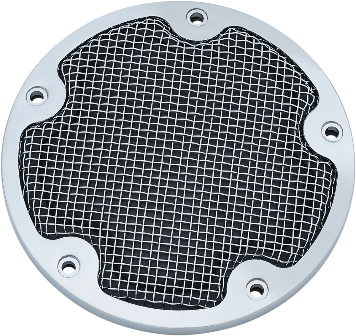 Kuryakyn 6524 Chrome Mesh 5 Hole Derby Cover for 99-17 Harley Dyna Touring FXST