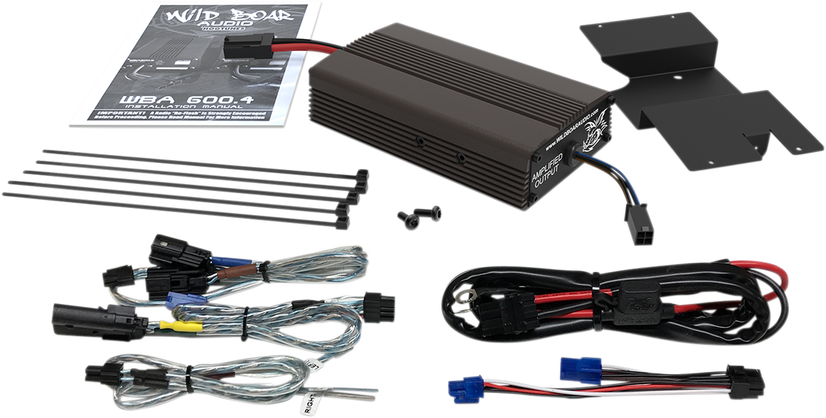 Hogtunes Black Wild Boar 300 Watt Amplifier Kit for 14-19 Harley Touring FLHX