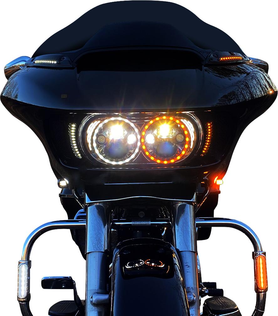 Custom Dynamics Black Front LED Turn Signals 15-20 Harley Road Glide FLTRX FLTRU