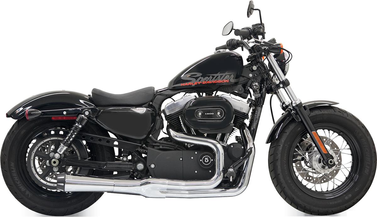 Bassani Chrome 2-1 Road Rage 2 Mega Power Exhaust for 04-13 Harley Sportster XL