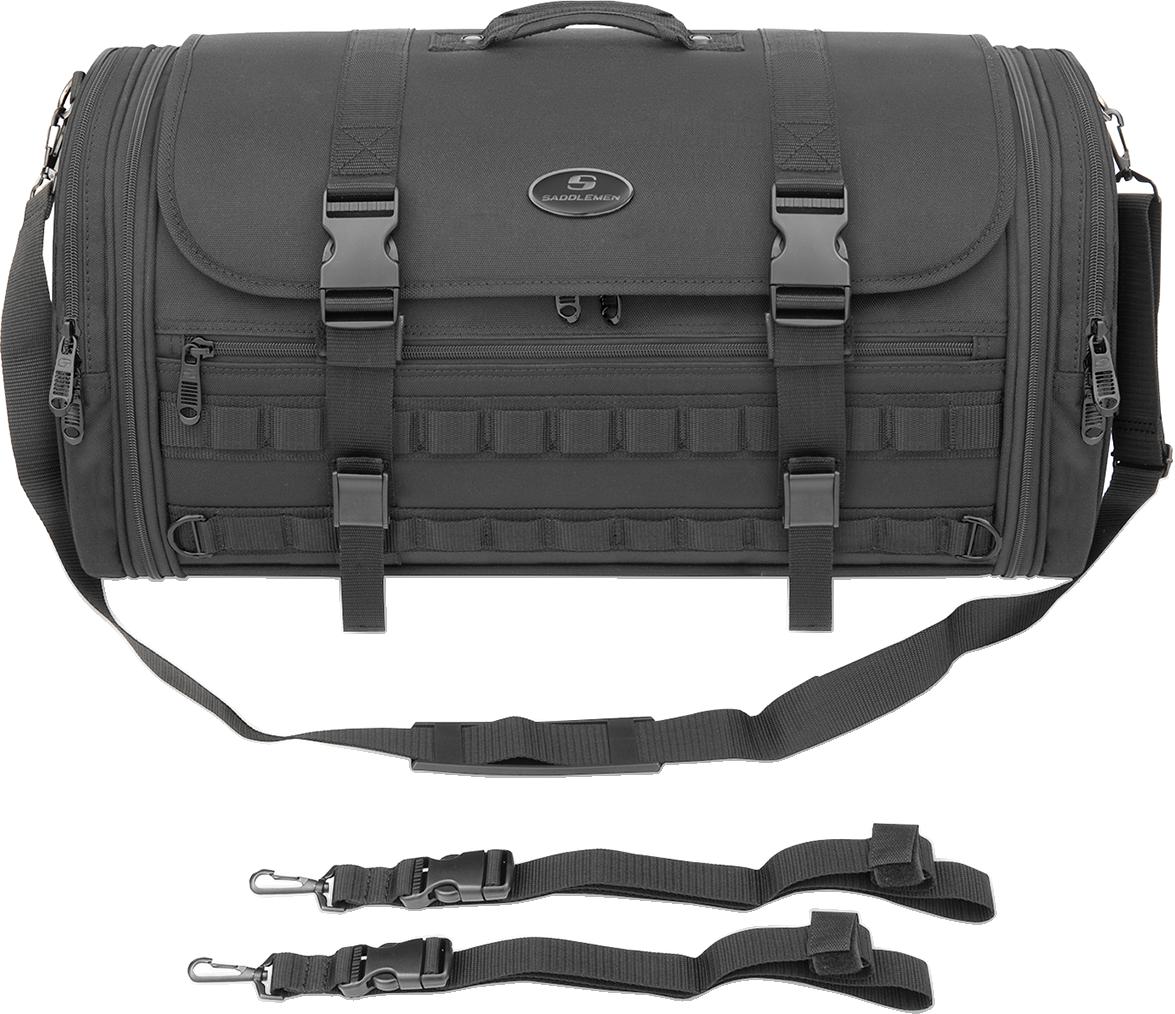 Saddlemen Black Textile Mesh TR3300DE Tactical Motorcycle Rack Bag for Harley