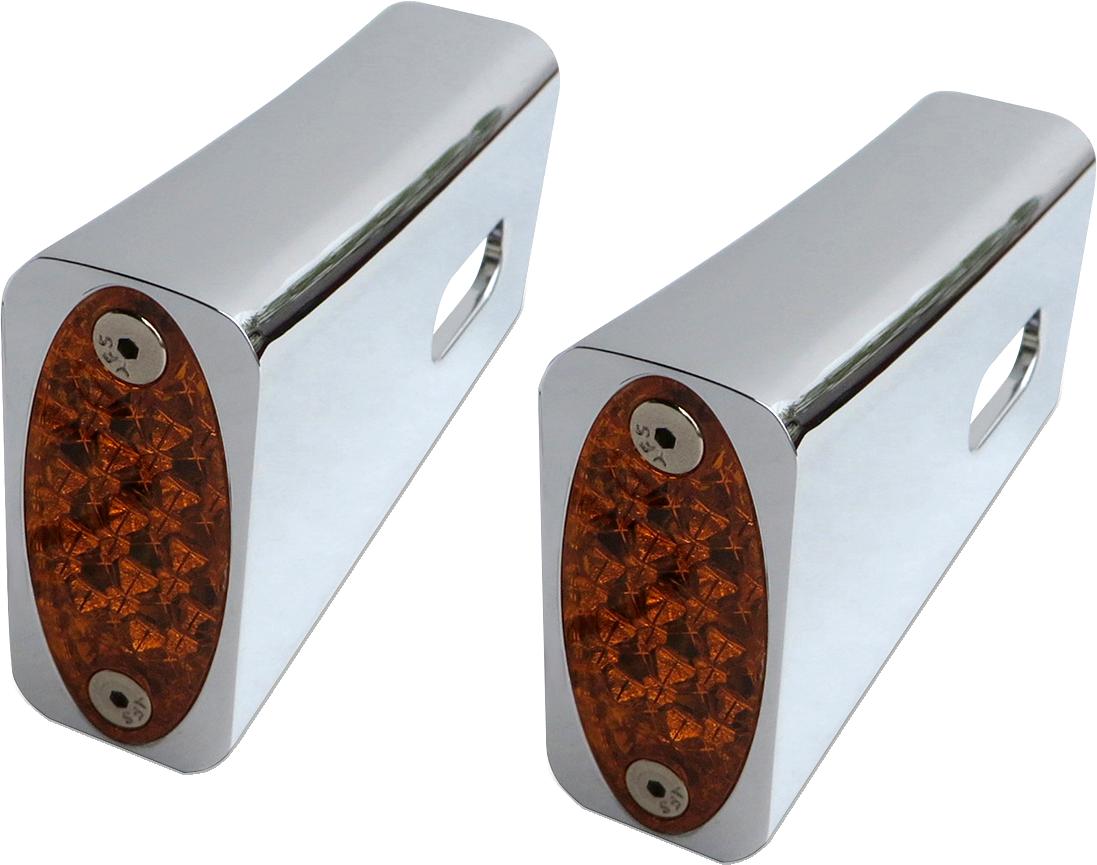 Pro One Chrome Amber LED Marker Light Kit for 84-17 Harley Dyna Softail XL