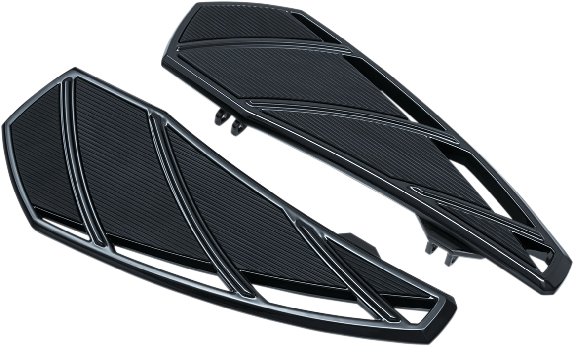 Kuryakyn 5793 Black Phantom Motorcycle Driver Floorboards 83-20 Harley Touring