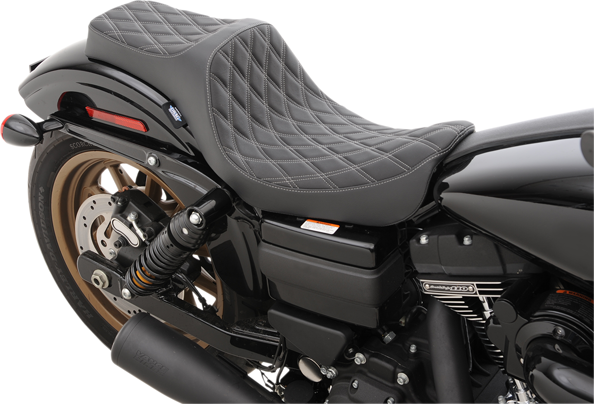 Drag Specialties Black Silver Diamond Vinyl Predator Seat for 06-17 Harley Dyna