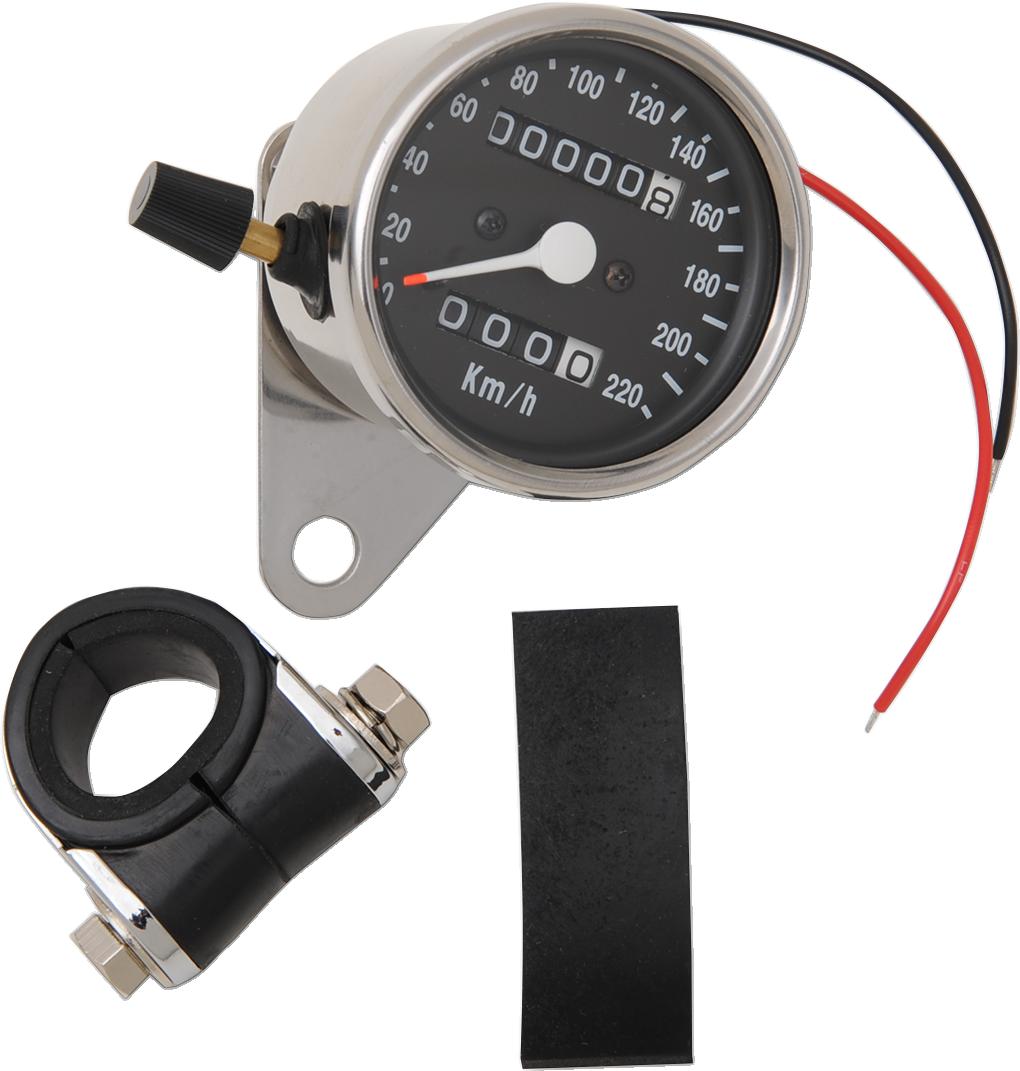 Drag Specialties 2:1 Chrome 220 KPH Mini Mechanical Speedometer Odometer & Trip
