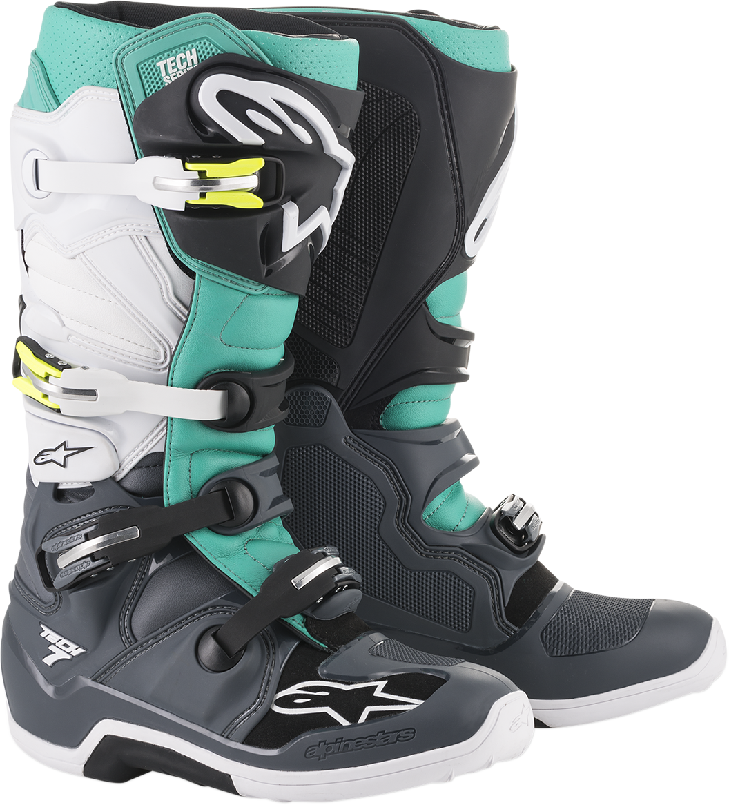 Alpinestars Gray Teal White Tech 7 Off road Riding Dirt Bike Racing Boots
