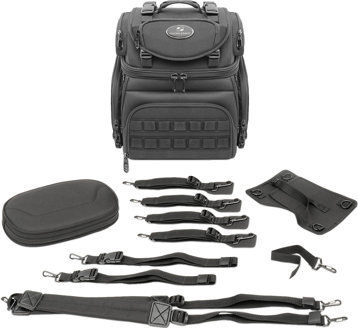 Saddlemen Black BR1800 Tactical Molle Rear Sissybar Bag for Harley Davidson