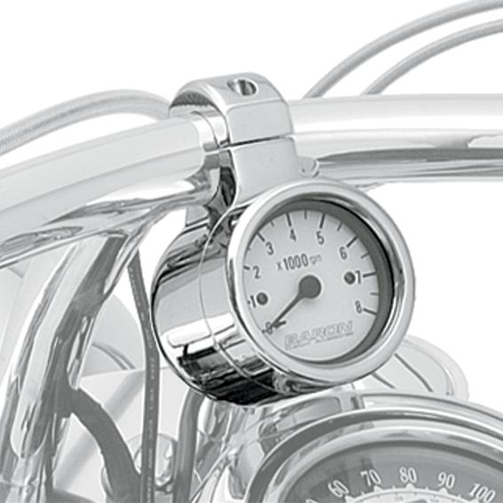 "Baron Chrome 1.25"" Handlebar Motorcycle Electronic Tachometer Gauge for Harley"