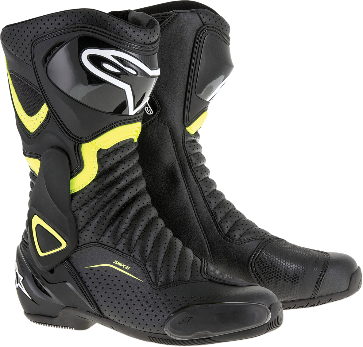 Mens Alpinestars Black Yellow SMX-6 V2 Motorcycle Riding Street Racing Boots