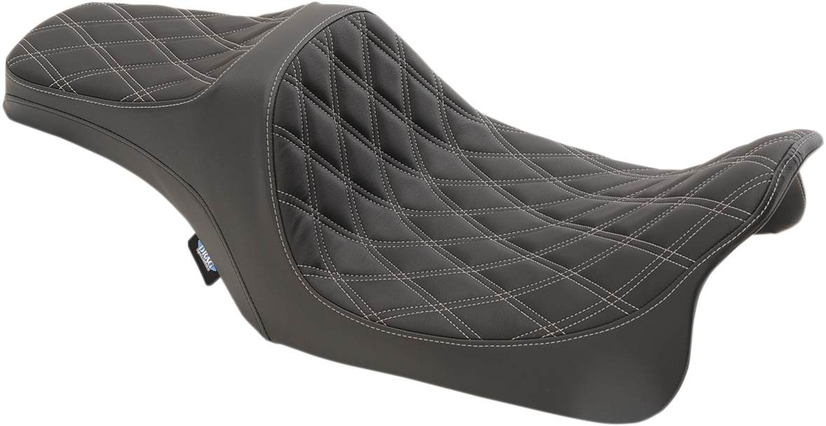 Drag Specialties Black Silver Stitched Vinyl Diamond Seat for 08-18 Harley FLHX