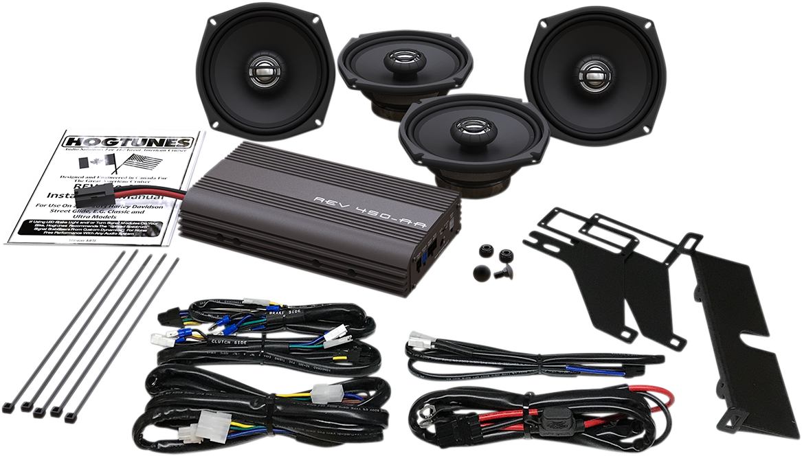 "Hogtunes 300 Watt 5 1/4"" Speaker Amp Kit for 00-13 Harley Touring FLHTK FLHTCU"