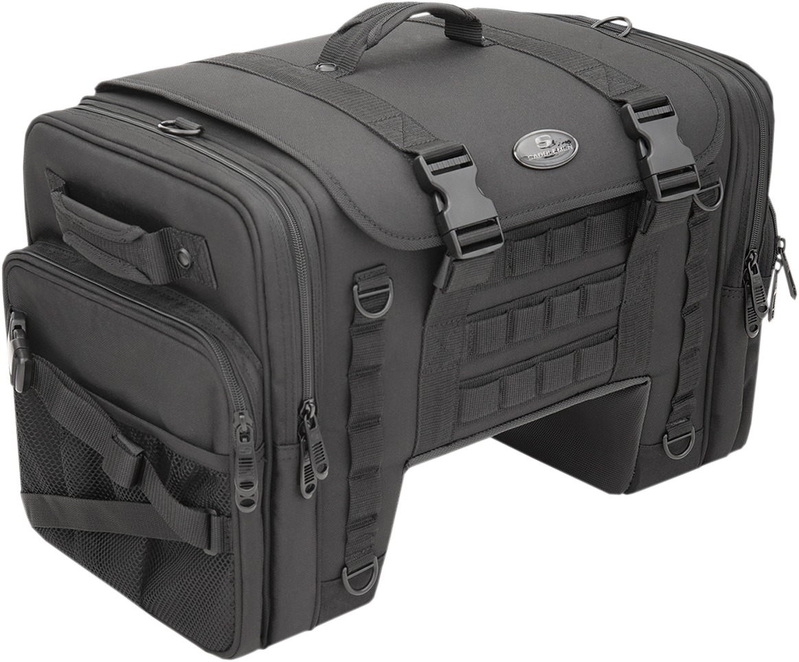 Saddlemen Black Textile Tactical Deluxe Cruiser Tail Bag for Harley Touring