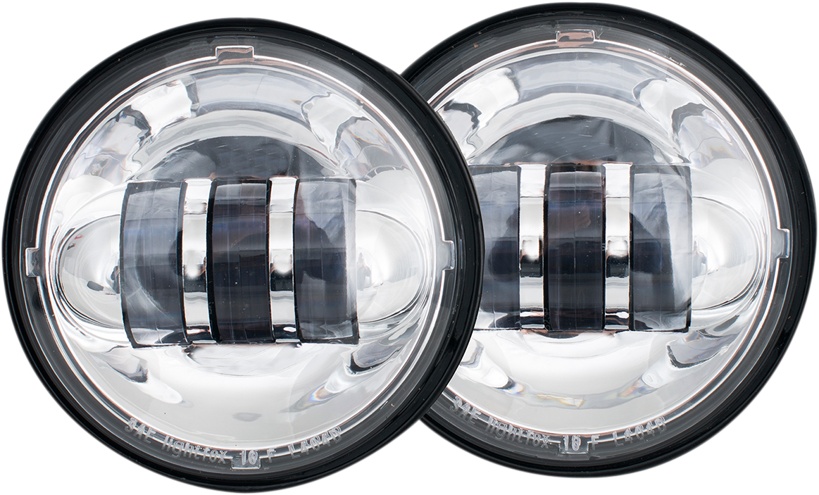 "Rivco Chrome Pair LED 4.5"" Front Spotlights Passing Lamps for Harley Davidson"