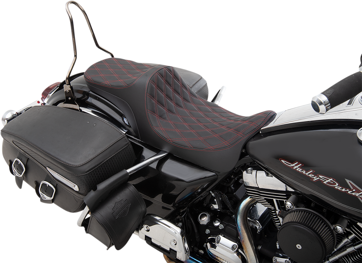 Drag Specialties Predator III Red Diamond 2-Up Seat 08-20 Harley Touring FLHX