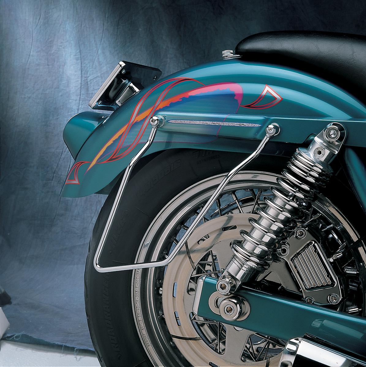 Drag Specialties Chrome Rear Saddlebag Support Brackets for 82-00 Harley FXR