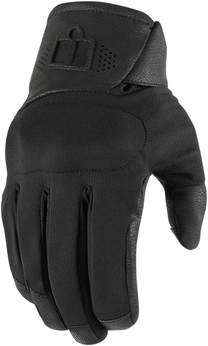 Icon Black Textile Unisex Adult Tarmac 2 Motorcycle Riding Street Racing Gloves