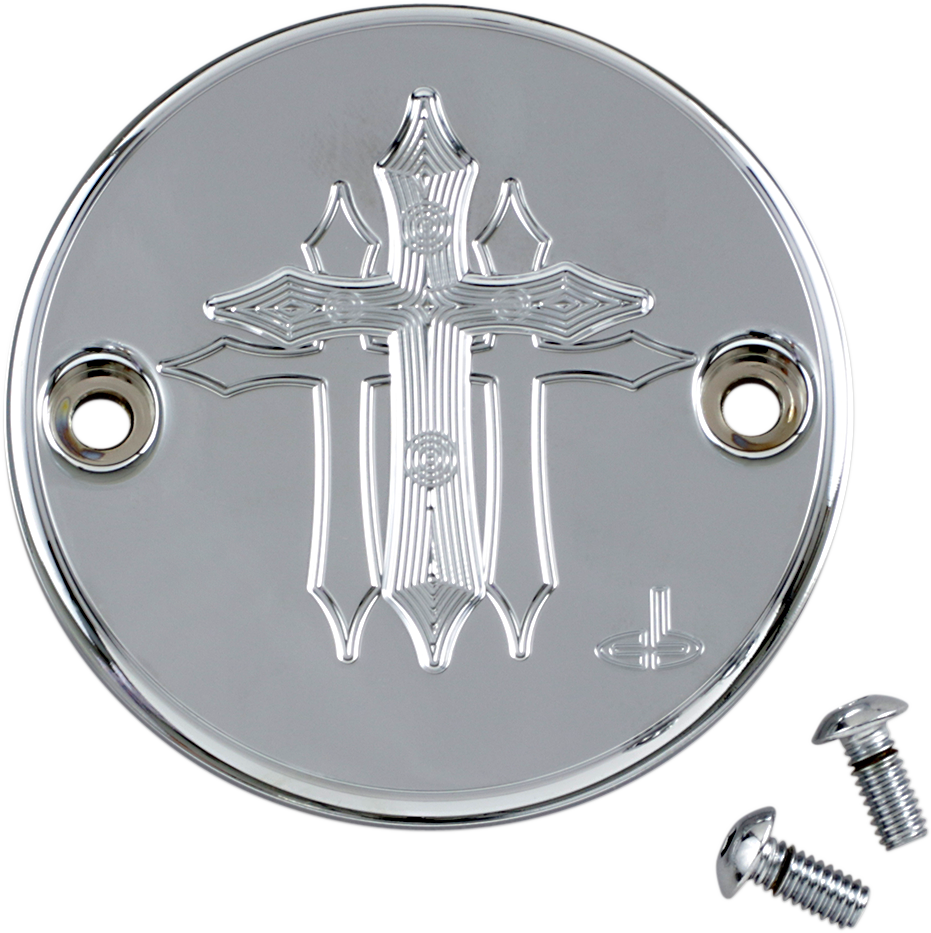 Carl Brouhard Chrome Silver 2 Hole Cross Points Cover for Harley Davidson M8