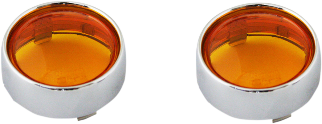 Custom Dynamics Chrome Amber Lens Probeam Bullet Turn Signal Bezels for Harley