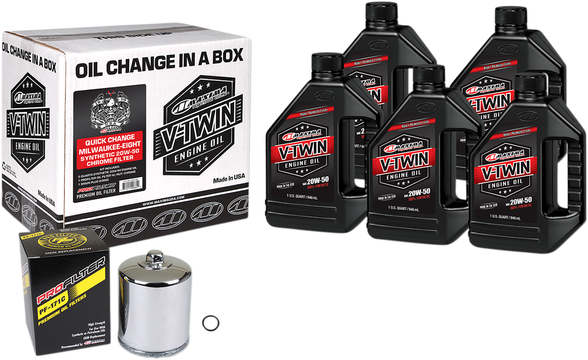 Maxima M8 Oil Quick Change Kit & Chrome Filter for 17-20 Harley Touring Softail