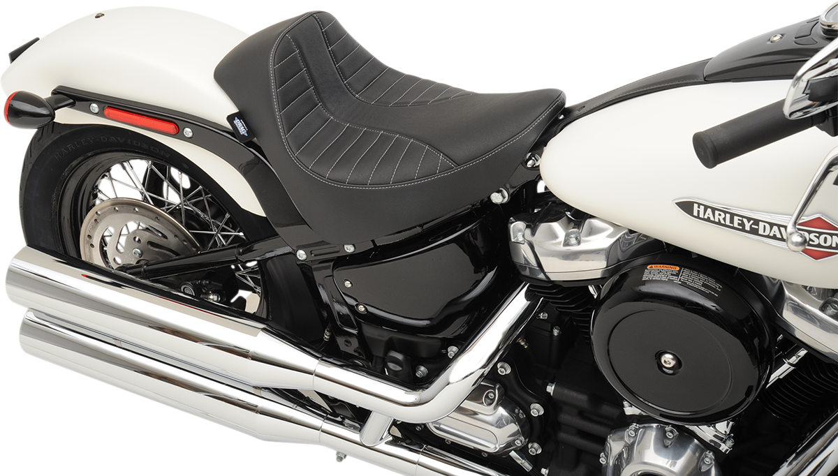 Drag Specialties Scorpion Silver Black EZ Solo Seat 18-20 Harley Softail FXBB