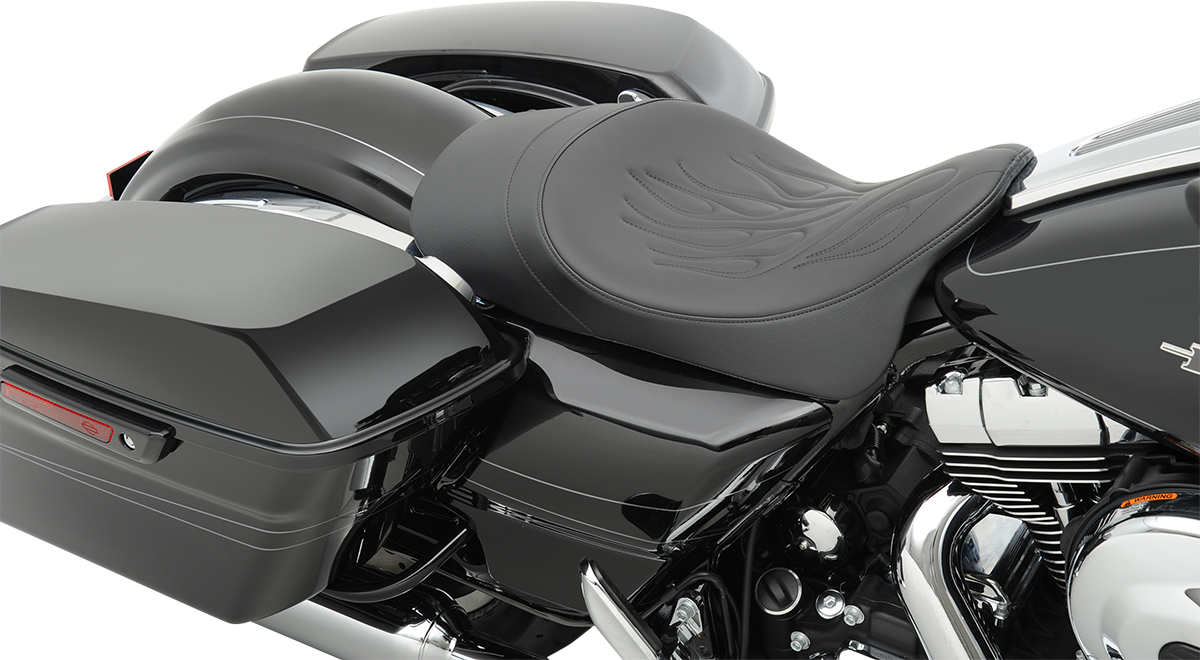 """Drag Specialties Low Profile Flame Stitch 2"""" Forward Solo Seat 08-19 Harley"""
