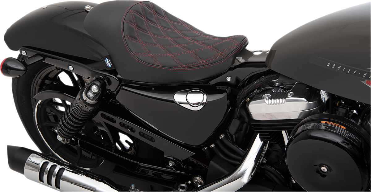 Drag Specialties Black Vinyl Red Diamond Solo Seat for 04-19 Harley Sportster XL