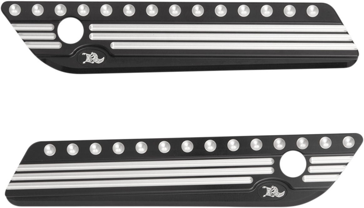 Kens Factory Black Saddlebag Latch Covers for 14-18 Harley Touring FLHX FLHR