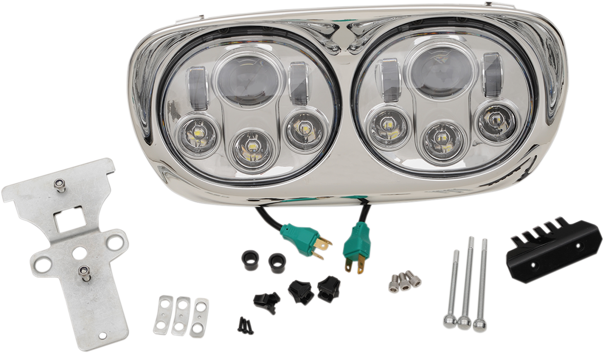 Headwinds Silver LED Front Headlight Assembly for 98-13 Harley Touring FLTR FLTRU