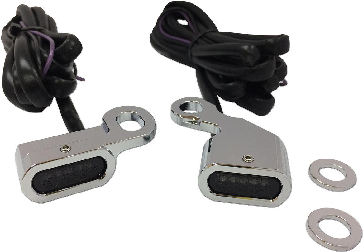 Drag Specialties Chrome LED Handlebar Marker Lights for 96-17 Harley Dyna Softail