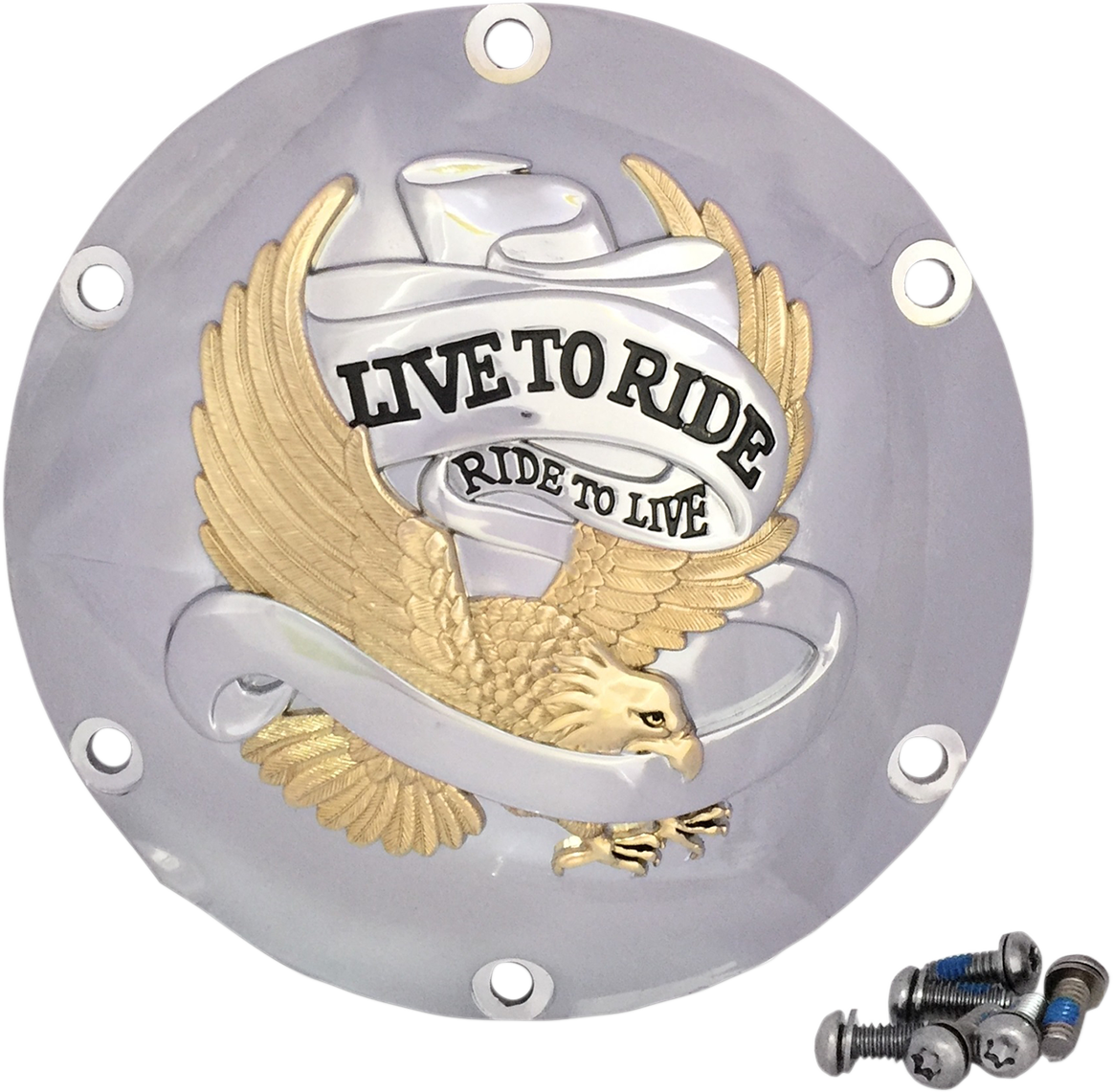 Drag Specialties Gold 6 Hole Live to Ride Derby Cover 04-20 Harley Sportster