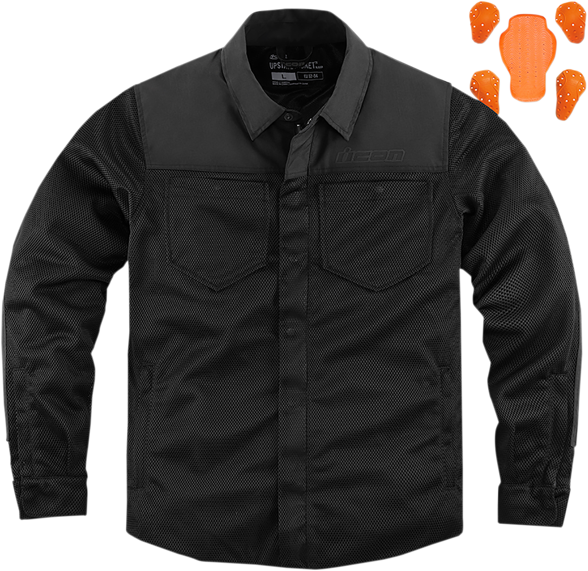 Icon Mens Textile Black Upstate Motorcycle Riding Street Racing Armored Jacket