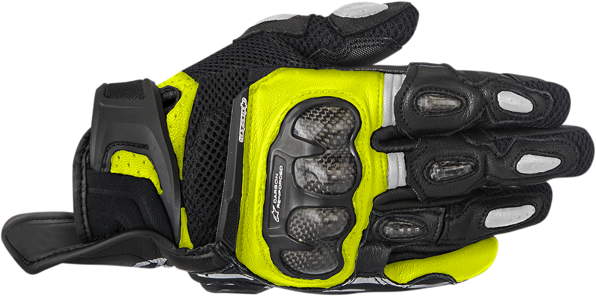 Mens Alpinestars Black Yellow SP-X Air Carbon Motorcycle Street Racing Gloves