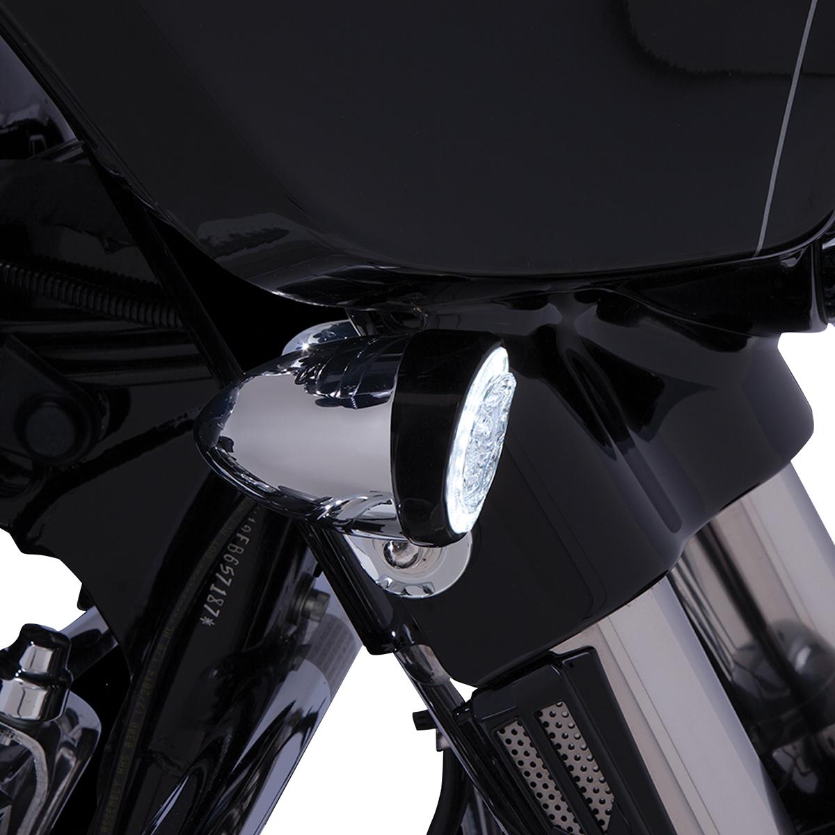 Ciro Fang Black Led Front Dual Motorcycle Turn Signal