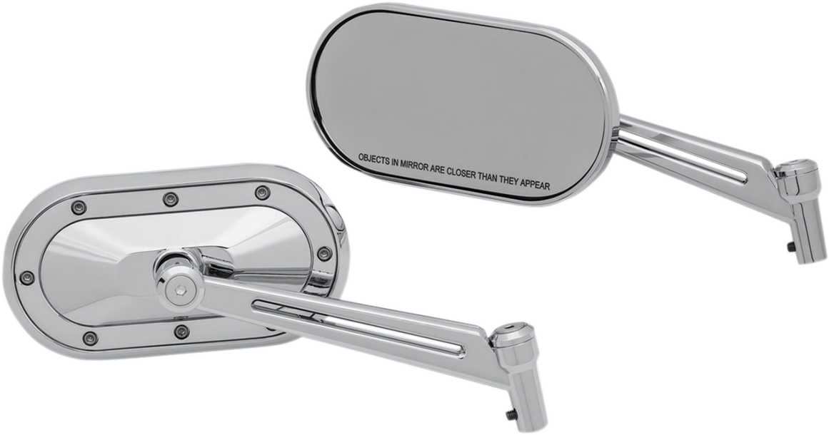 Kuryakyn 1736 Chrome Heavy Industry Slotted Pair Mirror Set For Harley Davidson